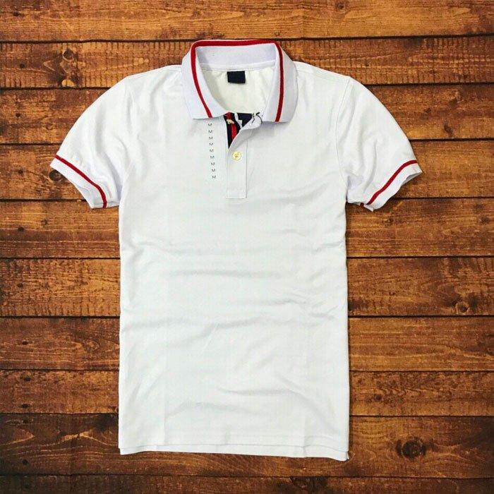Áo thun cổ bẻ cotton 100 nam trắng