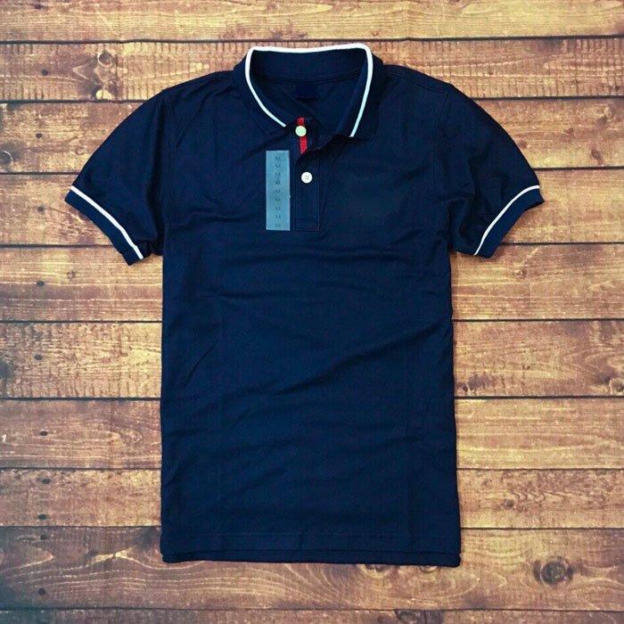 Áo thun cổ bẻ cotton 100 nam xanh đen