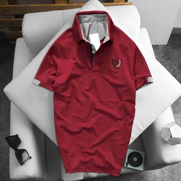 Áo thun nam logo bông lúa màu đỏ
