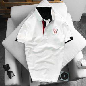 Áo thun nam logo bông lúa màu trắng