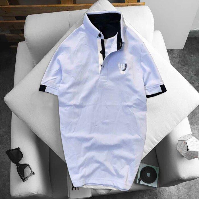 Áo thun nam logo bông lúa màu xanh da trời