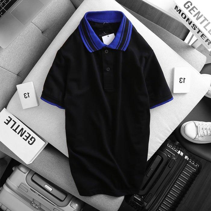 Áo thun nam cổ bẻ logo ở ngực trái phối viền ở cổ và tay áo đen