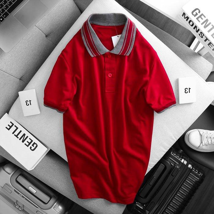 Áo thun nam cổ bẻ logo ở ngực trái phối viền ở cổ và tay áo đỏ