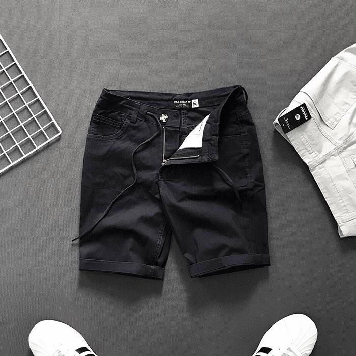 Quần short 4 túi kiểu thắt lưng phối dây rút đen