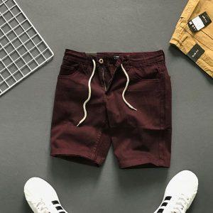 Quần short 4 túi kiểu thắt lưng phối dây rút đỏ