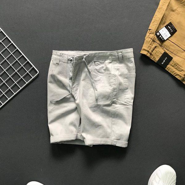 Quần short 4 túi kiểu thắt lưng phối dây rút trắng