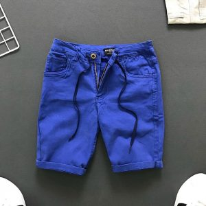 Quần short 4 túi kiểu thắt lưng phối dây rút xanh biển