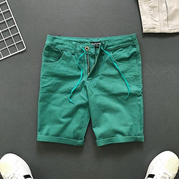 Quần short 4 túi kiểu thắt lưng phối dây rút xanh lá