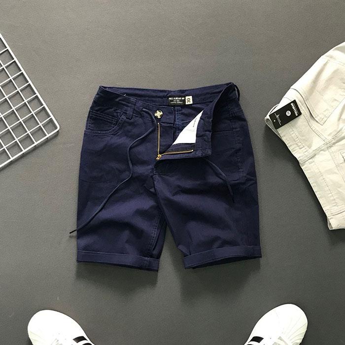 Quần short 4 túi kiểu thắt lưng phối dây rút xanh đen
