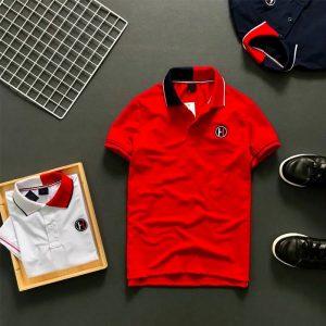 Áo thun nam trơn logo H cổ áo 2 màu phối viền ở tay và cổ áo đỏ