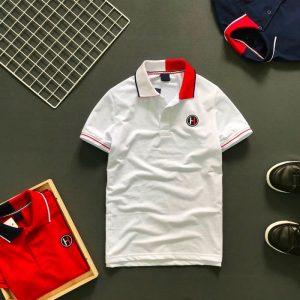 Áo thun nam trơn logo H cổ áo 2 màu phối viền ở tay và cổ áo trắng