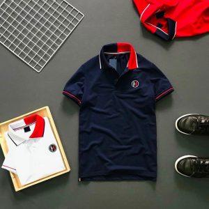 Áo thun nam trơn logo H cổ áo 2 màu phối viền ở tay và cổ áo xanh đen
