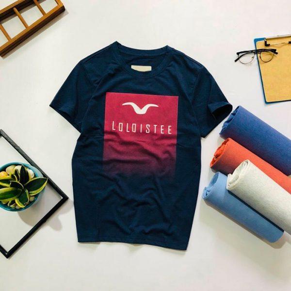Áo thun nam cổ tròn với Background chữ nhật và logo trước ngực xanh biển