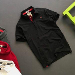 Áo thun nam trơn cổ bẻ logo R chất liệu thun cá mập chất lượng giá sỉ đen