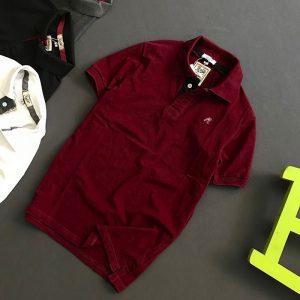 Áo thun nam trơn cổ bẻ logo R chất liệu thun cá mập chất lượng giá sỉ đỏ