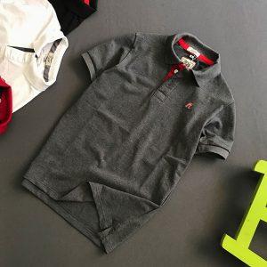 Áo thun nam trơn cổ bẻ logo R chất liệu thun cá mập chất lượng giá sỉ xám