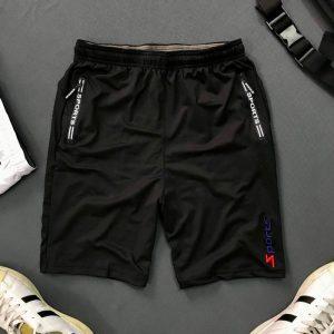 Quần thun nam thể thao 2 túi khóa kéo với chữ sports đen