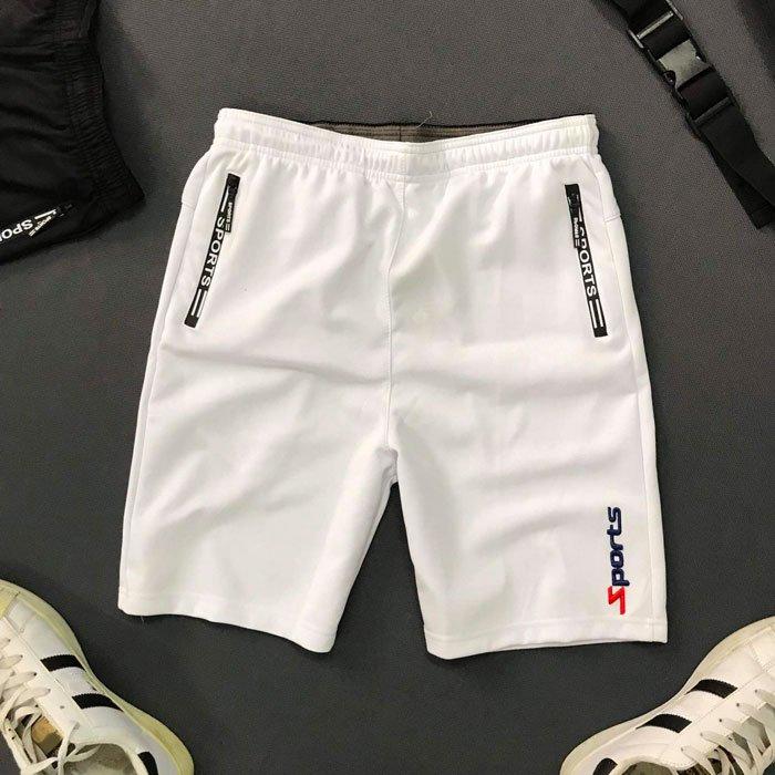 Quần thun nam thể thao 2 túi khóa kéo với chữ sports trắng