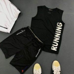 Set quần áo thể thao với áo thun ba lỗ Running giá sỉ áo đen quần đen