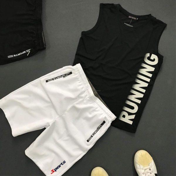 Set quần áo thể thao với áo thun ba lỗ Running giá sỉ áo đen quần trắng