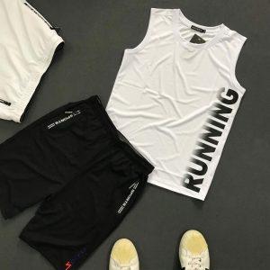 Set quần áo thể thao với áo thun ba lỗ Running giá sỉ áo trắng quần đen