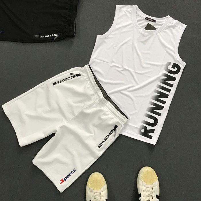 Set quần áo thể thao với áo thun ba lỗ Running giá sỉ áo trắng quần trắng