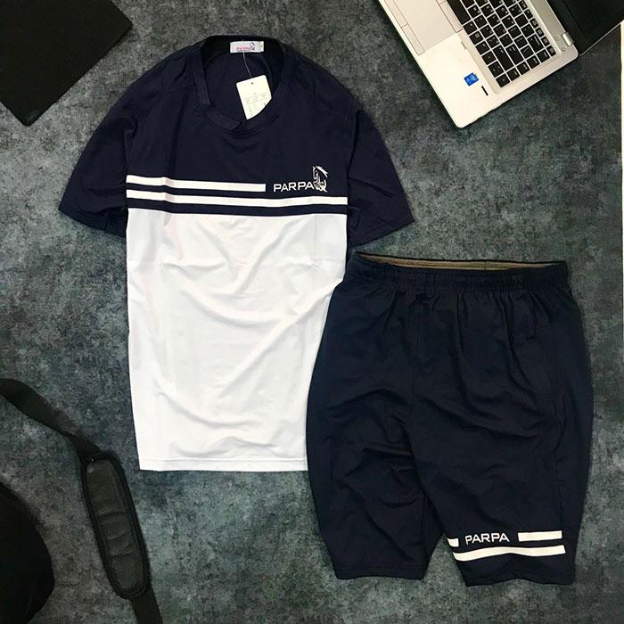 Set quần short nam với áo thun nam thể thao cổ tròn Parpa 2 đường kẻ giá sỉ trắng