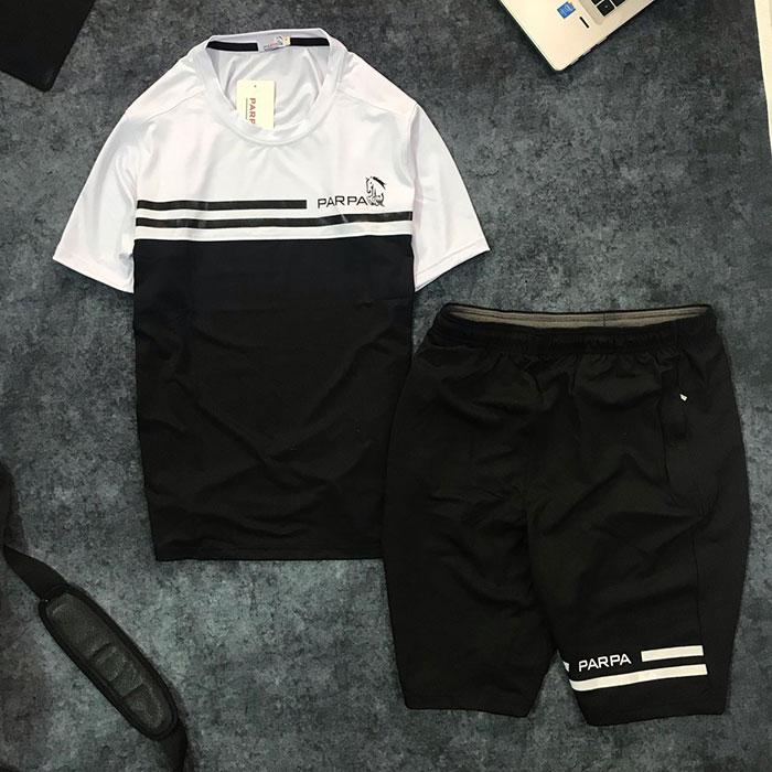 Set quần short nam với áo thun nam thể thao cổ tròn Parpa 2 đường kẻ giá sỉ đen