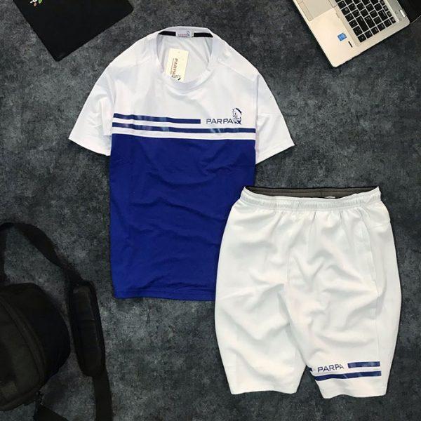Set quần short nam với áo thun nam thể thao cổ tròn Parpa 2 đường kẻ giá sỉ xanh dương