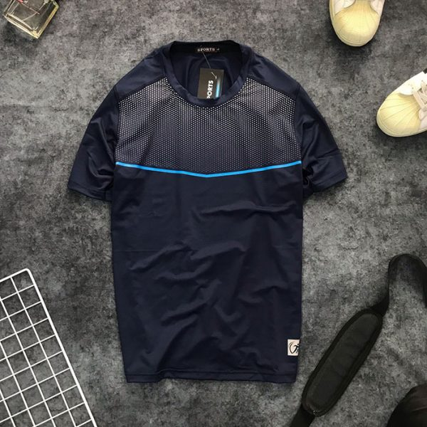 Áo thun nam thể thao cổ tròn họa tiết chấm bi ở ngực phối đường kẻ giá sỉ xanh