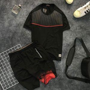 Set quần short và áo thun nam thể thao họa tiết chấm bi phối đường kẻ giá sỉ đỏ