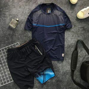 Set quần short và áo thun nam thể thao họa tiết chấm bi phối đường kẻ giá sỉ xanh