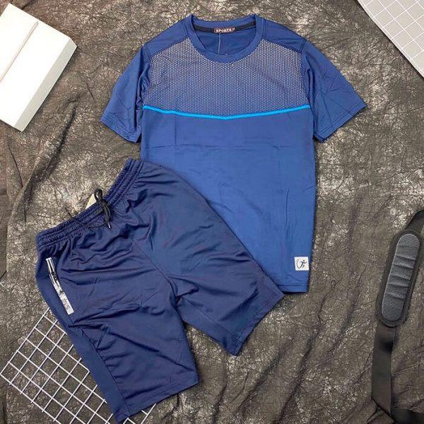Set đồ bộ thể thao áo sport quần short xanh dương