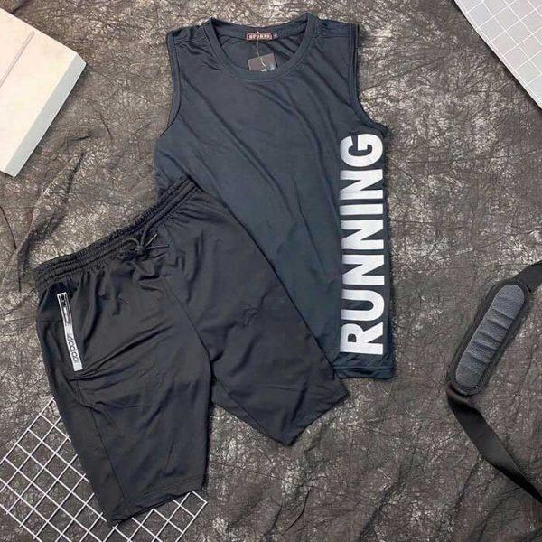 Set đồ bộ thể thao áo thun ba lỗ đen quần short nam đen