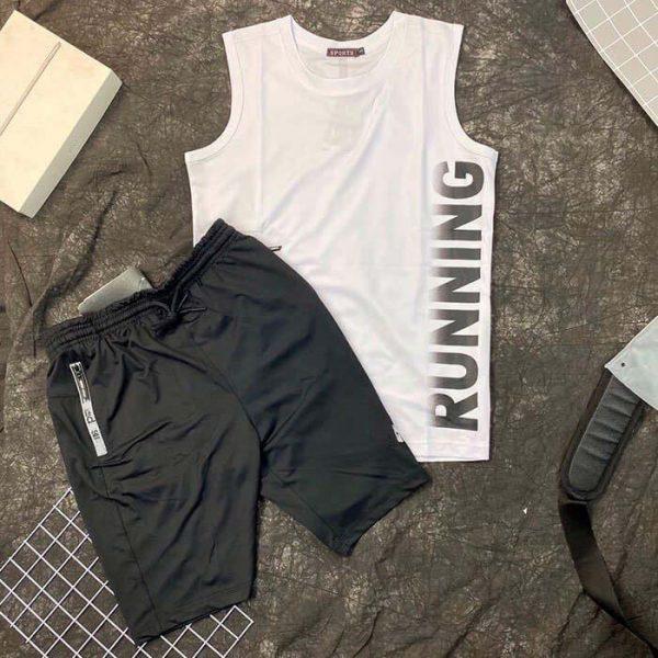 Set đồ bộ thể thao áo thun ba lỗ trắng quần short nam đen