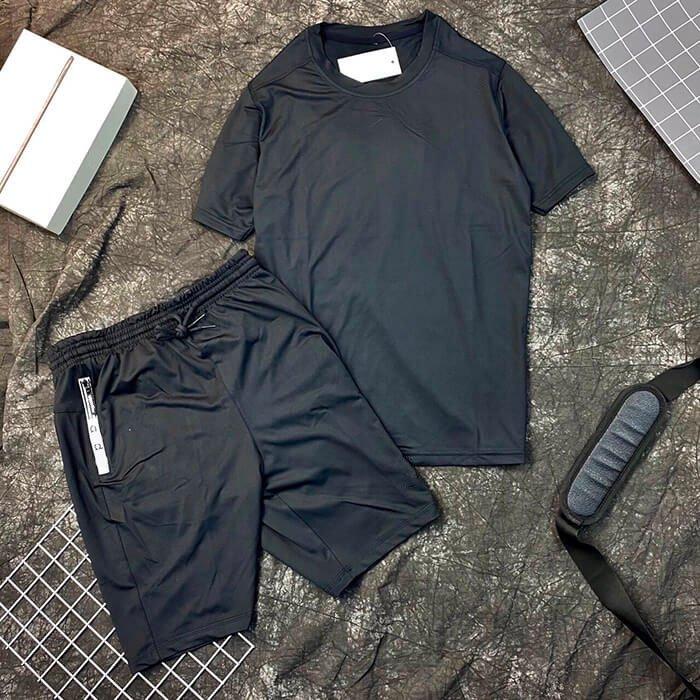Set đồ bộ thể thao nam áo đen quần short đen