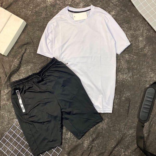 Set đồ bộ thể thao nam áo trắng quần short đen