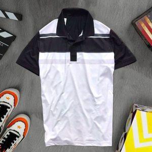 Áo thun thể thao cổ bẻ màu trắng đen