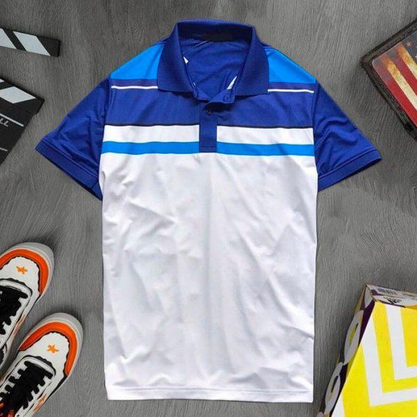 Áo thun thể thao cổ bẻ màu xanh dương trắng