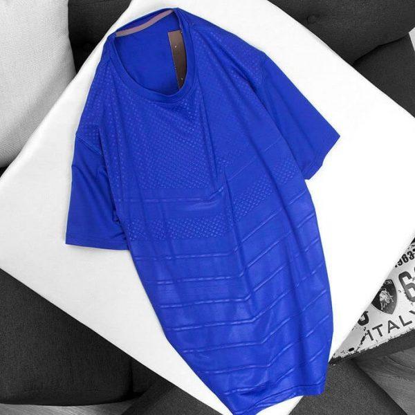 Áo thun thể thao cổ tròn màu xanh dương