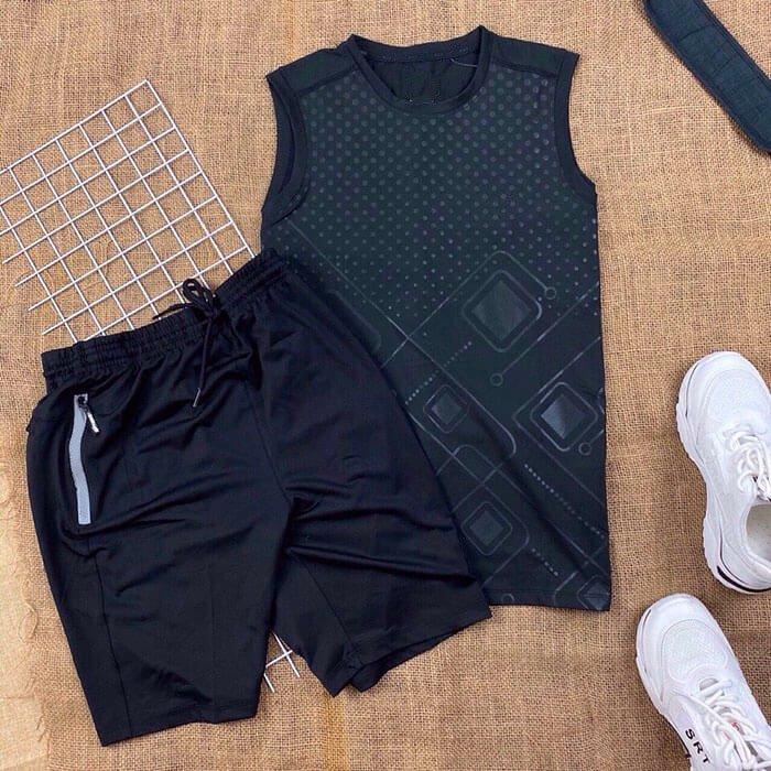 Set đồ bộ nam NK áo thun ba lỗ đen quần short dây rút màu đen