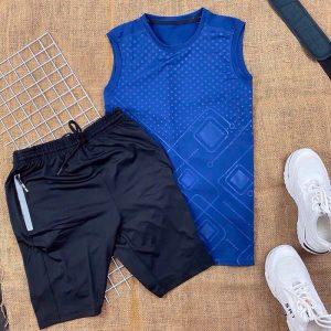 Set đồ bộ nam NK áo thun ba lỗ xanh dương quần short dây rút màu đen