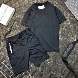 Set đồ bộ thể thao nam áo đen quần đen