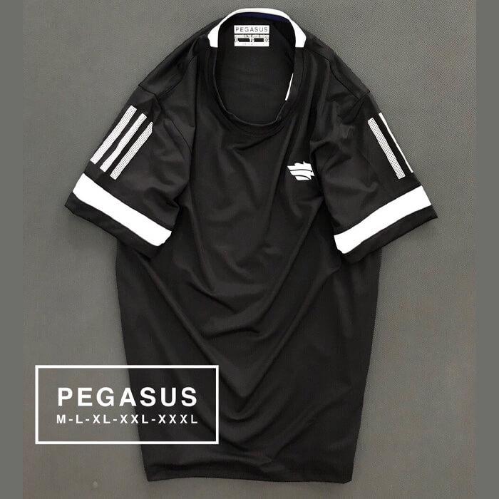 Áo thun nam Pegsus thể thao phối sọc ở tay màu đen