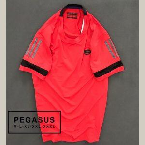Áo thun nam Pegsus thể thao phối sọc ở tay màu đỏ