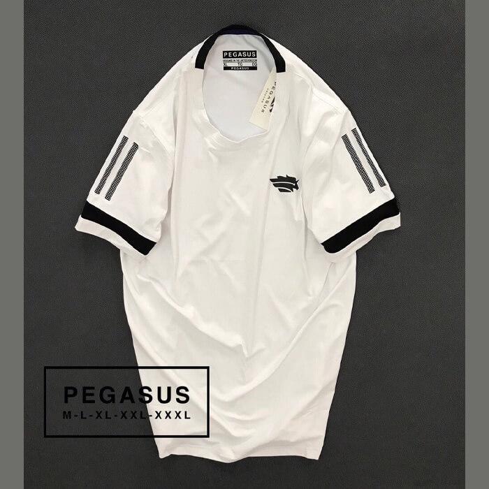 Áo thun nam Pegsus thể thao phối sọc ở tay màu trắng
