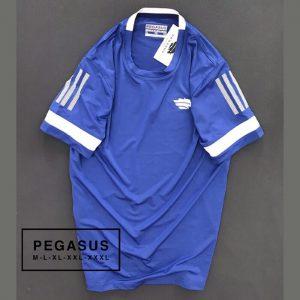 Áo thun nam Pegsus thể thao phối sọc ở tay màu xanh dương