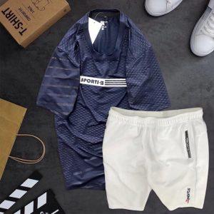 Đồ bộ thể thao Sports áo xanh đen quần short trắng