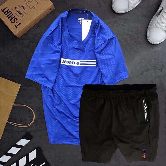Đồ bộ thể thao Sports áo xanh dương quần short đen