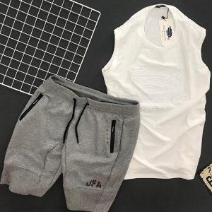 áo tank top pegasus trắng phối quần short USA xám đậm